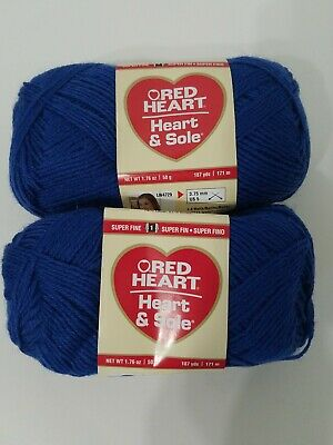 Lot of 2-Red Heart Heart /& Sole Wool Blend Sock Yarn BLUE 50g//187 yds ea