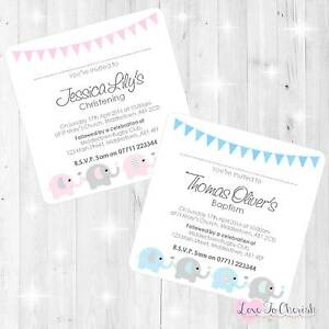 Personalised-CHRISTENING-BAPTISM-Invites-Baby-Elephants-amp-Hearts-Design-BOY-GIRL