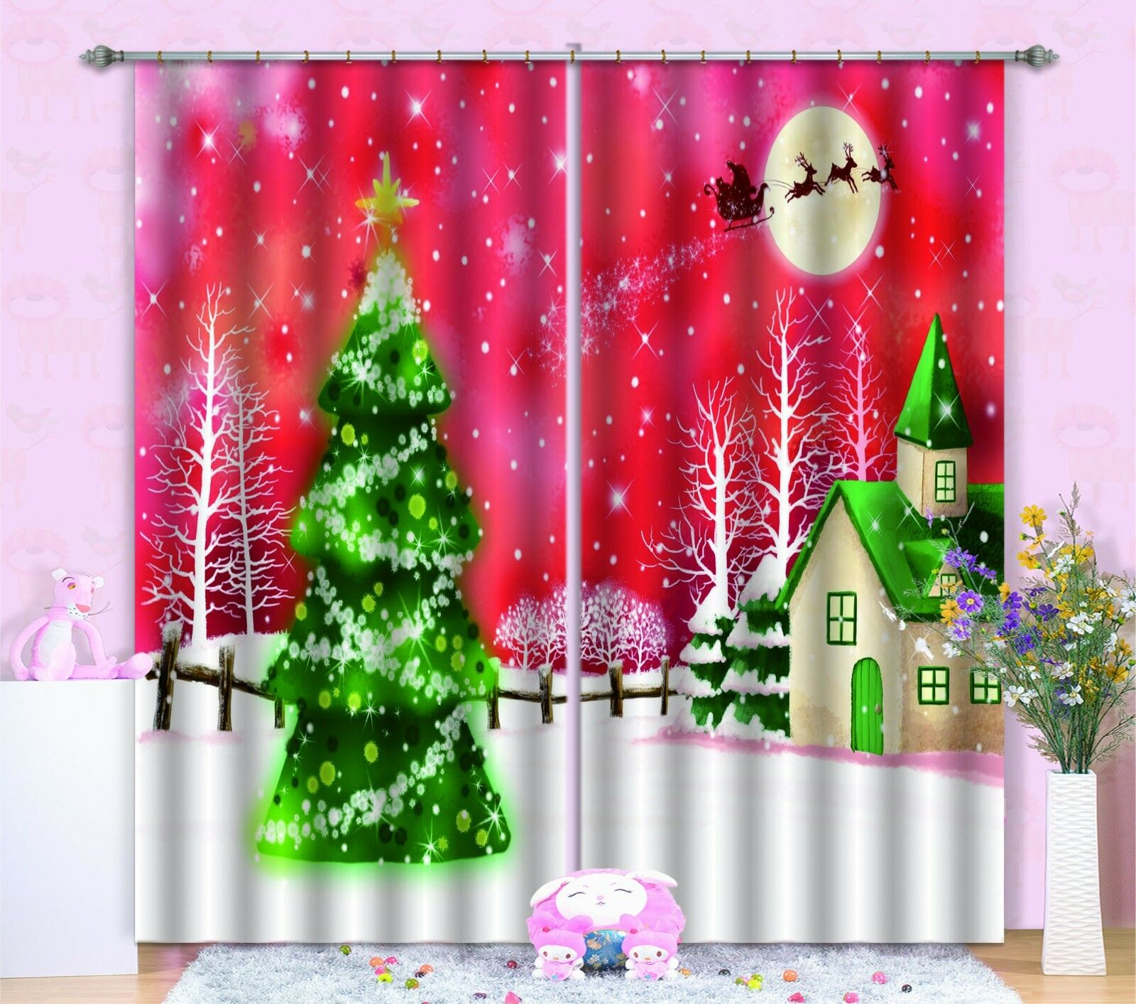 Vista de nieve 3D 977 Cortinas de impresión de cortina de foto Blockout Tela Cortinas Ventana CA