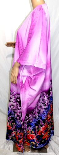 Riviera Sun Women Plus One Free Size Maxi Purple Blue Floral Tunic Caftan Dress