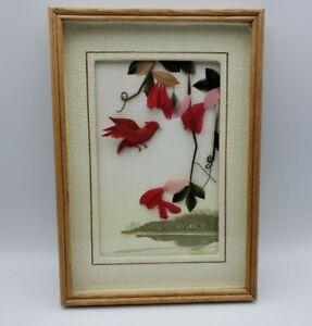 Vintage Framed Feather Artwork Red Bird Matted 7 x 10