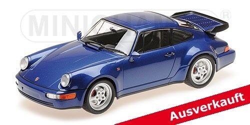 155069101 porsche 911 turbo (964) - 1990 - Blau - metallizzato, minichamps 1,18