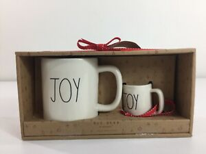 "NEW! RAE DUNN Magenta ""JOY"" Red Ceramic Christmas Mug & Ornament Gift Set"