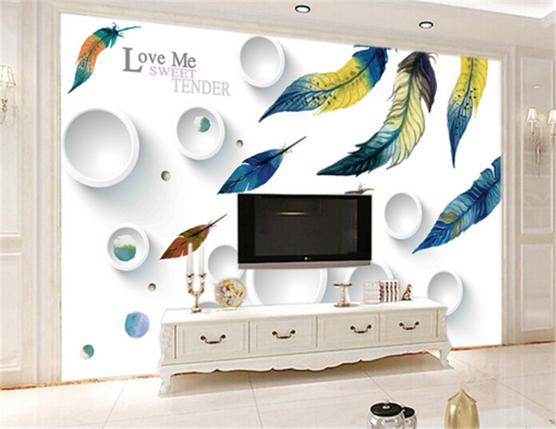 3D Farbe Feather Ring83 Wallpaper Mural Paper Wall Print Wallpaper Murals UK