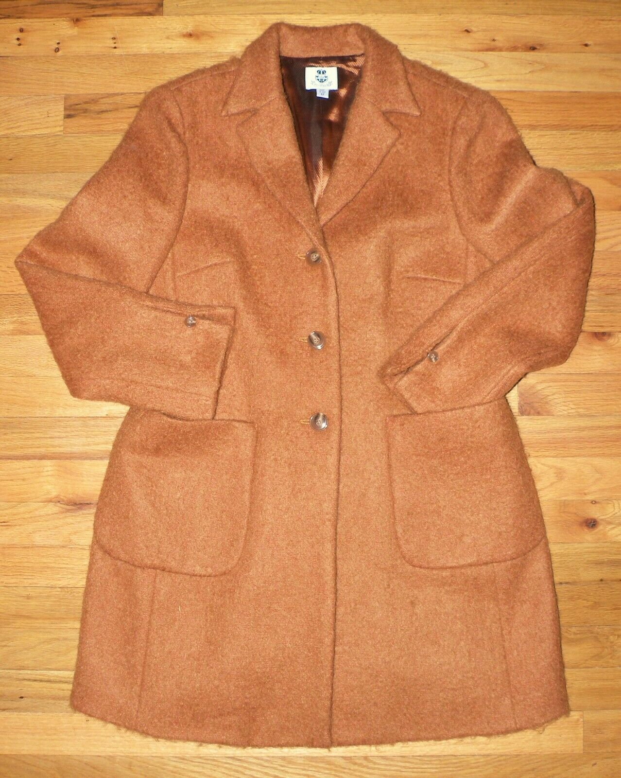 RENFREW  Vintage Classic MOHAIR COAT  Size 12  golden Copper w Satin Lining