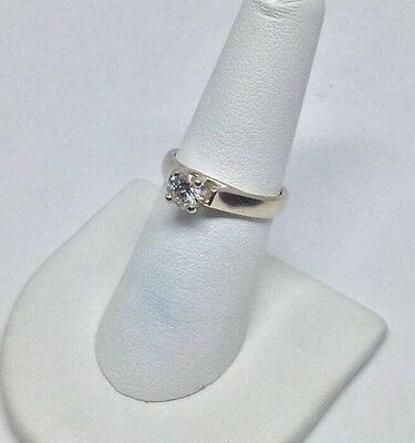 14K Solid White Gold Diamond Solitaire .53 CT Engagement Ring Size 7