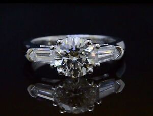 150ctw Natural Round Cut w Bullet Side Stones Diamond Engagement