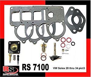VW Bug SOLEX 28 pict 1&2, 30 to 34 pict3 Carb Basic rebuild Kit  RADKE #RS 7100