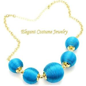 CLEARANCE-SALE-Chunky-Turquoise-Blue-Cord-Bead-Necklace-Fashion-Jewelry