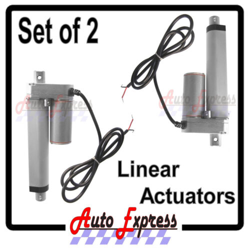 "2 Linear Actuators 4/"" Inch Stroke 225 Pound Max Lift 12 Volt DC Heavy Duty"