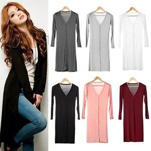 Fashion-Women-039-s-Casual-Long-Sleeve-Cardigan-Knit-Knitwear-Outwear-Coat-Tops-AQ