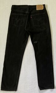 Vintage Levi's 501xx Button Fly Jeans Mens 38x34 Black Denim Distressed USA Made