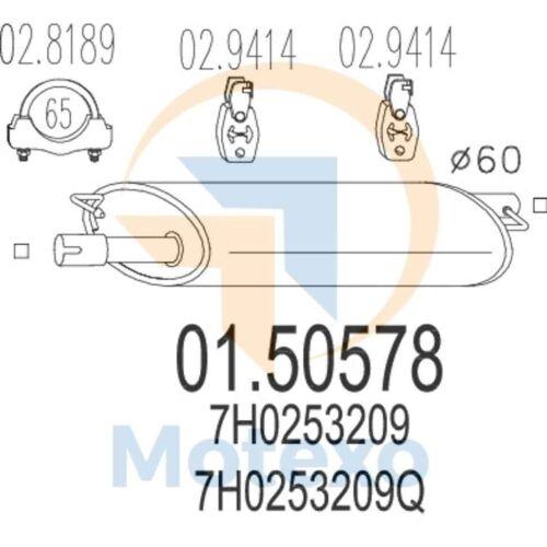 MTS 01.50578 Exhaust VOLKSWAGEN Transporter V 2.5 TDi 174bhp 04//03
