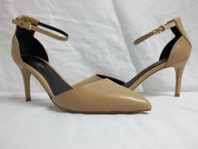 Charles By Charles David 9.5 M Lacy Tan Ankle Strap Heels New Womens Shoes NWOB