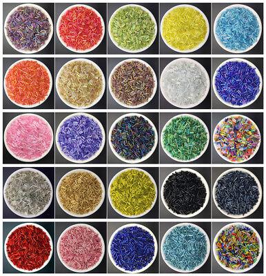 DIY 2x6mm 400 pcs Glass Tube Bugle Beads Jewelry Making color Beads wholesale#01