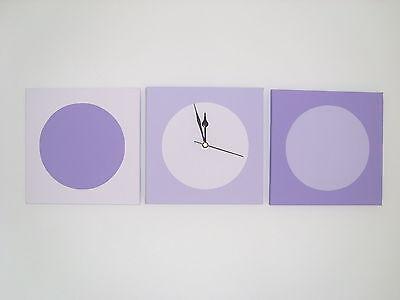 3 Fatto A Mano Moderni Dipinti Lilla Sfumature Cerchi Con Orologio Da Parete Dipinta-