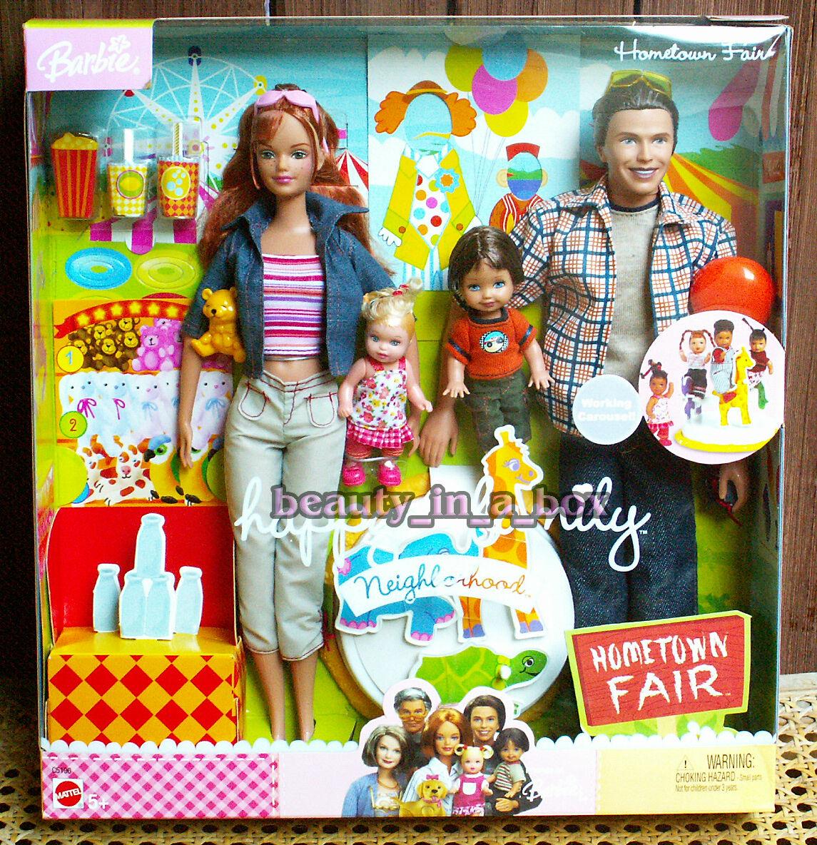 Familia feliz barrio Ciudad natal Feria de las Muñeca Barbie Conjunto de Regalo Alan Nikki