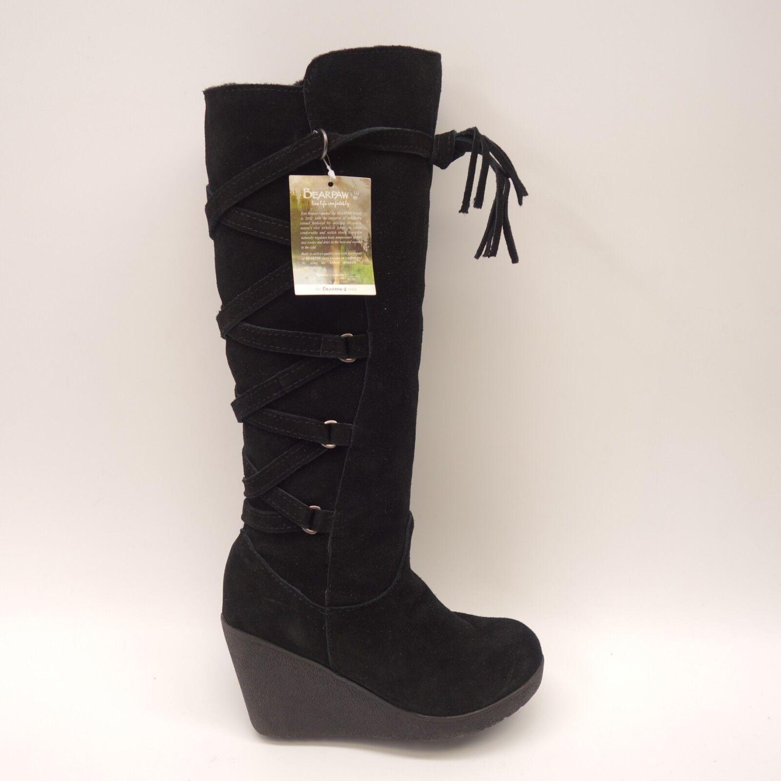 Nuevo señora Bearpaw Britney negro gamuza cuero torsión torsión torsión de rodilla tacón de cuña botas  gran descuento
