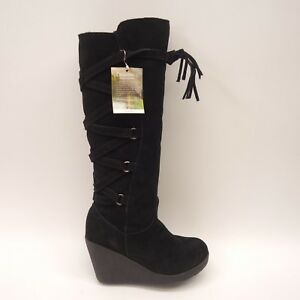 1fa11a76c13 New BearPaw Womens Britney Black Suede Knee-High Wedge Boots 2046W ...