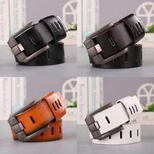 Fashion-Genuine-Cow-Leather-Men-Belt-Waistband-Waist-Strap-Girdle-Smooth-Buckle