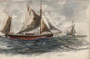 CAPTAIN-JOHN-HENRY-HOWARD-RN-Watercolour-Painting-BOATS-AT-SEA-c1900-SEASCAPE