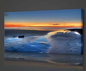 ORANGE SUNSET BIRDS SEASCAPE BOX MOUNTED CANVAS PRINT WALL ART PICTURE PHOTO