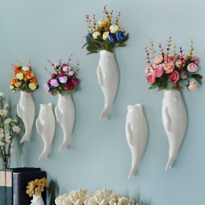 Fish-Ceramic-Wall-Mounted-Vase-Decorative-Hanging-Flower-Vase-with-Flower-B