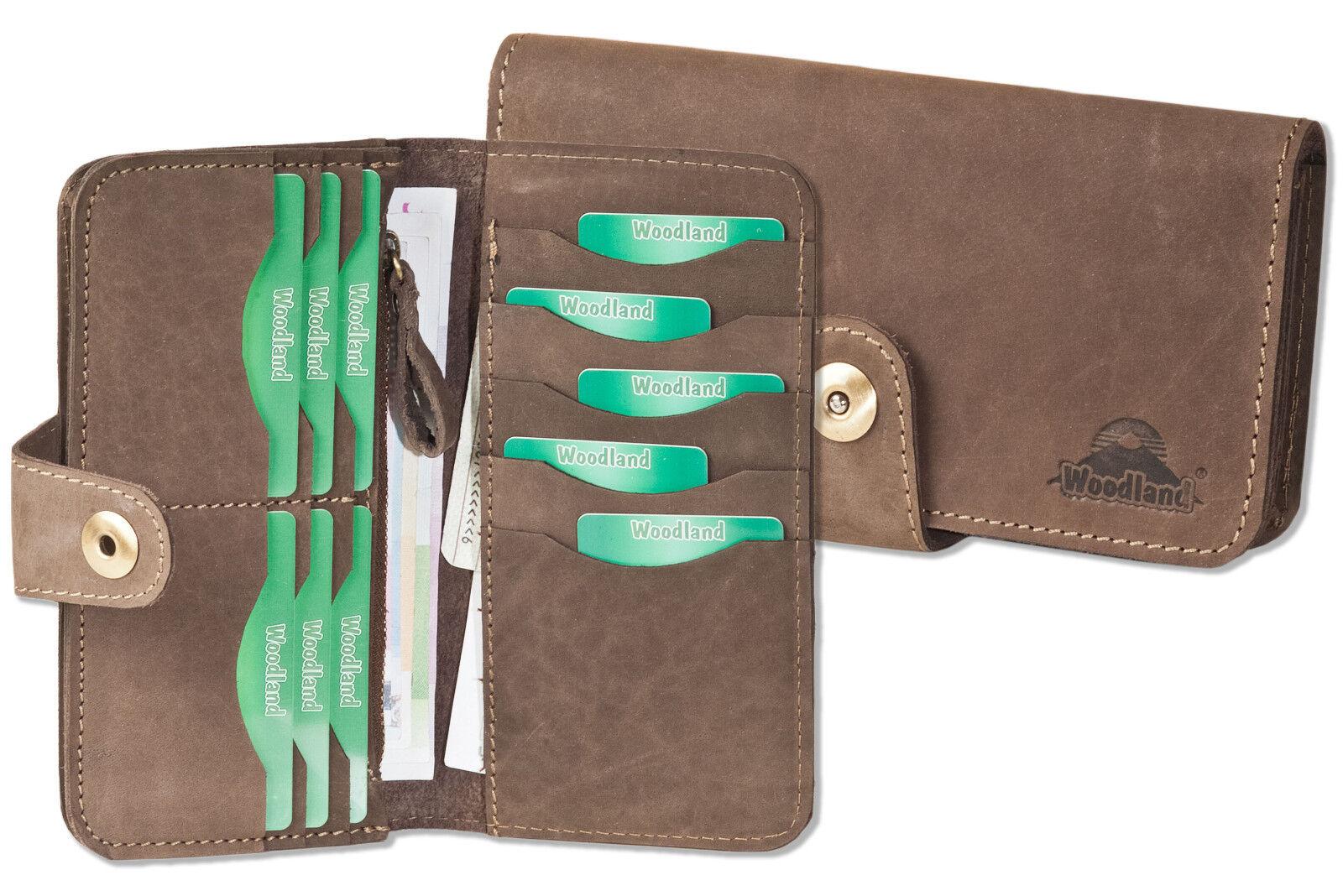 Woodland® Brieftasche   Geldbörse aus naturbelassenem Büffelleder in Dunkelbraun  | Hervorragende Eigenschaften