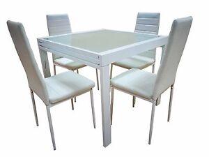 Tavolo Allungabile Moderno Con Sedie.Dettagli Su Tavolo Allungabile In Vetro Slot Elegante Moderno 120 240 Con 6 Sedie Ecopelle
