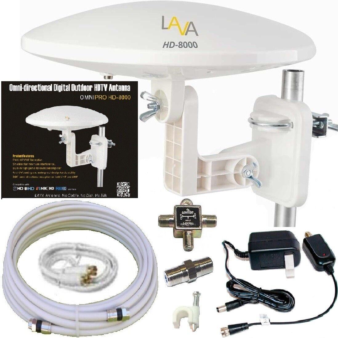 HD-8000 bettertvsignal LAVA HD-8000 360-DEGREES HDTV DIGITAL AMPLIFIED OUTDOOR TV ANTENNA HD VHF CABLE