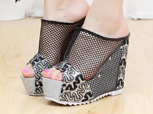 Womens-Open-Toe-Platform-Wedge-Heel-Rivet-Slingbacks-Mesh-Summer-Sandals-Shoes