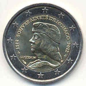 MONACO-2-EURO-GEDENKMUNZE-2012-Lucien-500-Jahre-Unabhangigkeit-Souveranitat