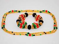 Oshun Ibu Cole Ilde Santeria Ifa Orisha Bracelet & Collar Idde Mazo Glass Beads