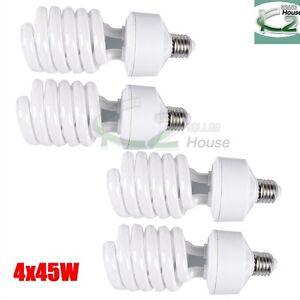 4x 45W 5500K Photo Studio CFL Light Bulbs Daylight Compact Fluorescent Lamp US