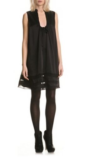 mujer S seda Vestido Bnwt 40 negro de noche de 42 seda Lagerfeld Karl Vestido de de negro qBwzAnXxO