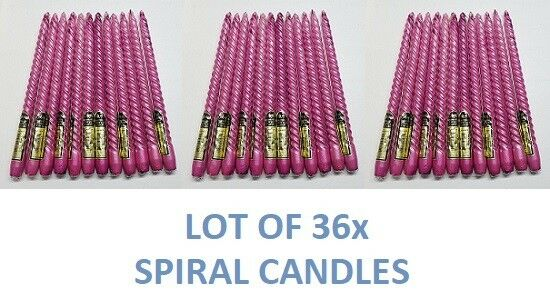 36x Taper Spiral Twisted Metallic Dinner Table Candles 12  Long Cranberry Wax