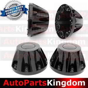 """11-17 Chevy Silverado DUALLY Model BLACK 17/"""" 2x Front Wheel Center Hub Cap Cover"""
