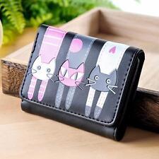 Women Cat Pattern Coin Purse Short Wallet Card Holders Handbag Black