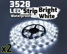 2X WHITE 5M Waterproof 300 LED 3528 SMD Flexible LED Light Lamp Strip DC 12V Car