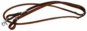 "7' Foot Rolled Leather Roping Barrel Racing Reins Scissor Snap 3/8"" Diameter"