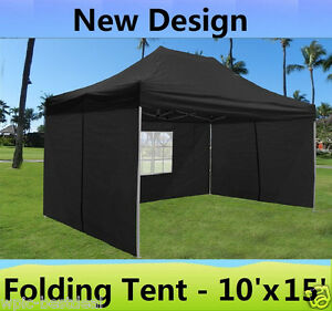 Image is loading 10-039-x-15-039-Pop-Up-Canopy- & 10u0027 x 15u0027 Pop Up Canopy Party Tent Gazebo EZ - Black - E Model | eBay