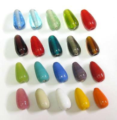 10 Glasperlen Perlen Tropfen 18-20x10mm viele Farben zur Auswahl