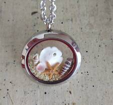 Floating Memory locket ocean beach necklace Pendant Genuine Starfish sand dollar