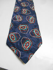 Secours Blue Silk Necktie w/ Maroon and Green Floral / Geometric Design