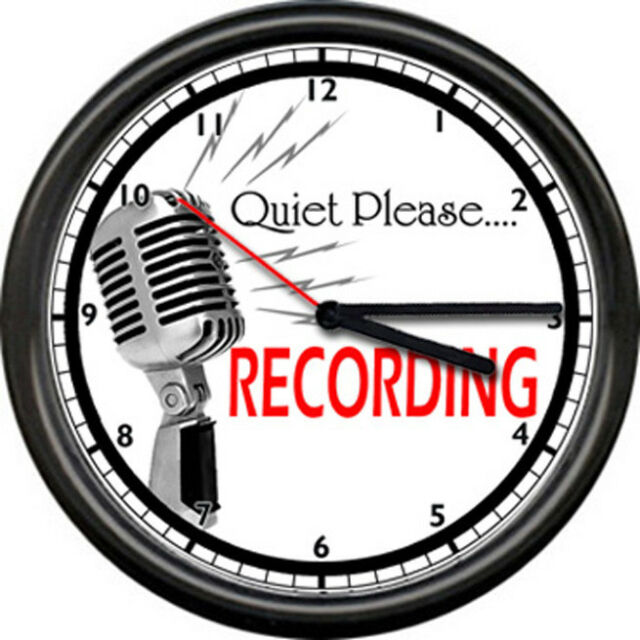 Recording Studio Microphone Record Sign Wall Clock #667