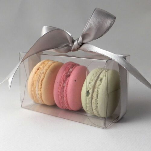 Clear small macaroon pack sizes 10 to 500 macaron boxes for 3 macarons