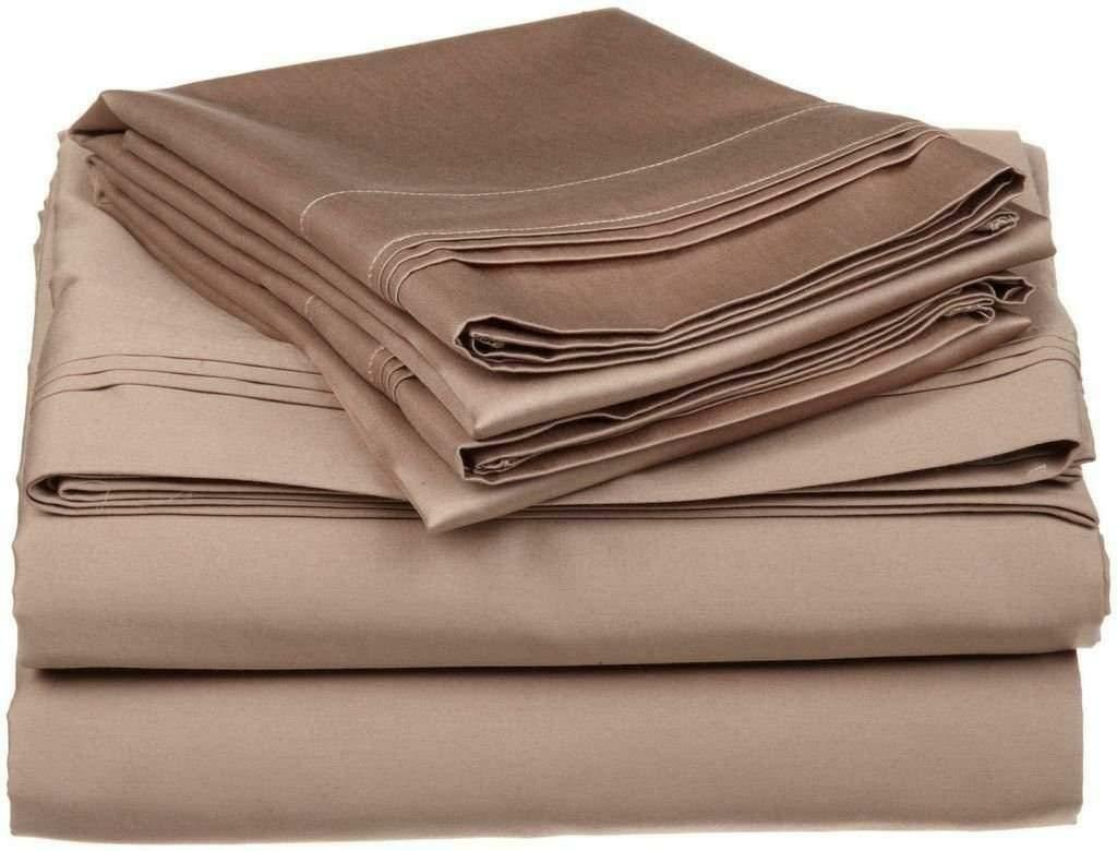 Fitted Sheet & 2 Pillowcase USA Size Taupe Solid 100% Cotton 600 TC 15  Drop