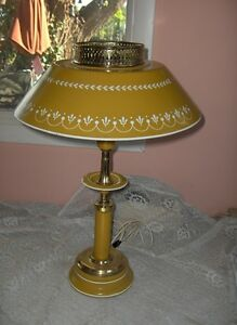 Vintage French Yellow Gold Brass Tole Hand Painted Metal Table