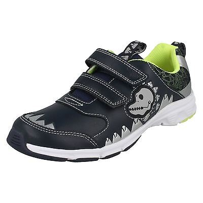 Boys Clarks Pass Rex Leather Casual Dinosaur Trainers With Flashing Lights
