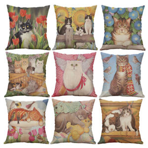 PM-Retro-Cats-Linen-Throw-Pillow-Case-Cushion-Cover-Sofa-Bed-Car-Home-Decor-G